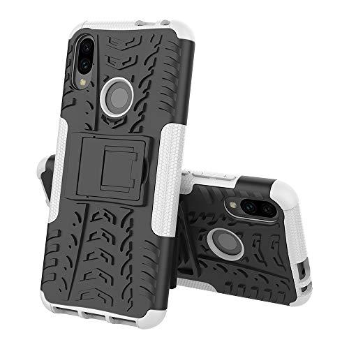 TOPOFU für Alcatel 3V (2019) hülle,2 in 1 TPU+PC schützender Zwei-Schichte Armor Design Tasche mit schlagfesten mit Ständer für Alcatel 3V (2019)-Weiß