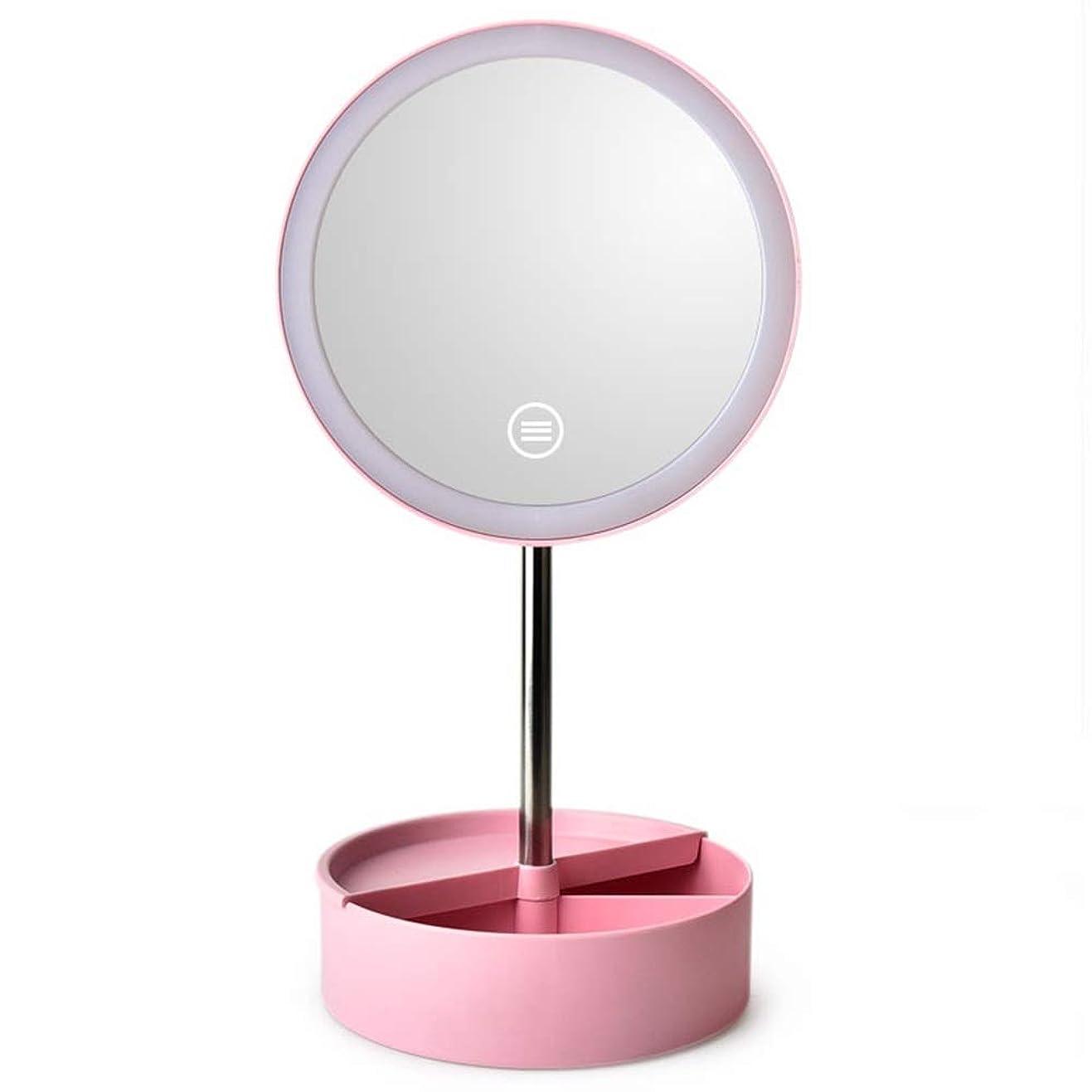 ライナー検査ハーブAmaiai 化粧鏡 ミラー 蓄光ビューティーミラー卓上丸自然光デスクトップメイクアップミラーブルーホワイトピンクのクリエイティブLEDタッチライトバニティミラー (色 : Pink)
