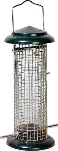 dobar Futterspender mit Gitterröhre, Futtersäule für Nüsse und Kerne, 9,5 x 9,5 x 23 cm, Metall