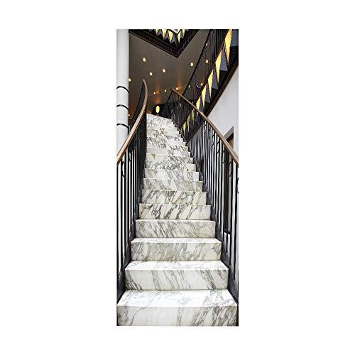 KEXIU 3D Escaleras mecánicas PVC fotografía adhesivo vinilo puerta pegatina cocina baño decoración mural 77x200cm