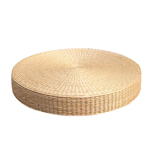 KNDJSPR Teezeremonie Tatami-Matte, natürlich gewebte runde Strohmatte, Wildpampas-Gras-Futonmatte, Garten-Esszimmerdekoration Flache Matte