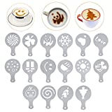 Lofekea Coffee Stencils Stainless Steel Coffee Decorating 16PCS Coffee Art Decorating Stencils Template for Birthday Cake, Cupcake Cookie Stencils