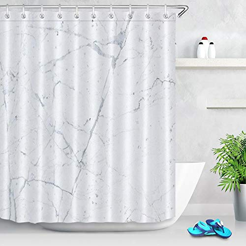Cortinas de Ducha Modernas Cortina baño Tela Impermeable Antimoho con Shower Curtain de Fibra Poliéster Resistente al Moho con Diseño de Dobladillo Ponderado Blanco 180x200 cm