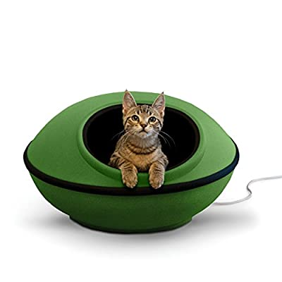"""K&H Pet Products Thermo-Mod Dream Pod Heated Pet Bed Green/Black 22"""" 4W"""