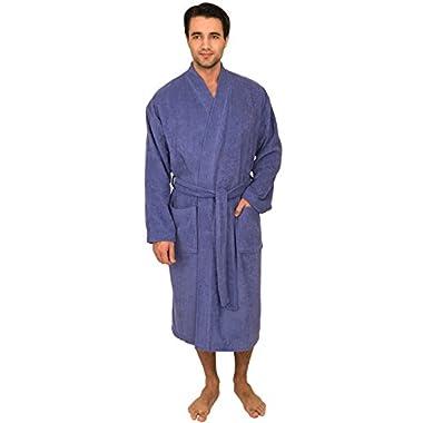 TowelSelections Men's Robe, Turkish Cotton Terry Kimono Bathrobe Medium/Large Violet Storm
