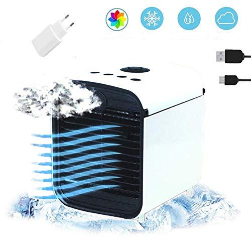 Nifogo Tragbare Klimaanlage Luftkühler,Mini Luftkühler Mobile Klimageräte,Luftbefeuchter&Luftreiniger Ventilator mit USB Anschluß 3 Stufen und 7 Farben LED Nachtlicht (Weiß 1)
