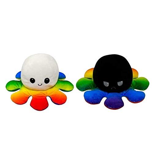 Peluche de Pulpo Reversible,2020 Más Nuevo Bonitos Juguetes de Peluche muñeco Vibrante de Doble Cara el Pulpo Reversible Original de Felpa Bonitos Juguetes de Peluche para Niños (Multicolor)