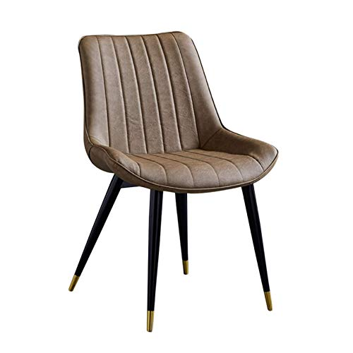 Dining Chair Upholstered Faux Leather Seat Modern Style Office Chair Ergonomic Backrest with Sturdy Black Metal Legs Easy Assembly (Color : Camel)
