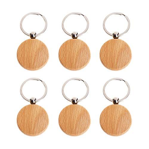 Nifocc Holz Schlüsselanhänger DIY Blanko Schlüsselanhänger Runden Formen Schlüsselanhänger für DIY Basteln Handwerk - 6 Stk