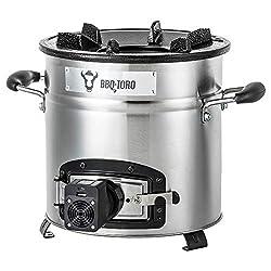 BBQ-Toro Raketenofen Rakete #3 | Edelstahl Rocket Stove für Dutch Oven, Grillpfannen und vieles mehr | + USB Gebläse
