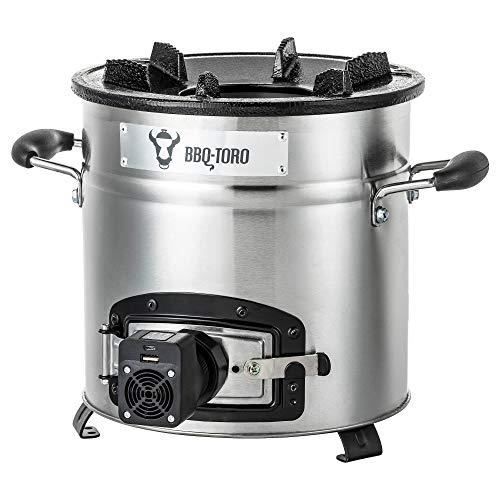 BBQ-Toro Raketoven #3 | Roestvrij stalen Rocket Stove voor Dutch Oven, grillpannen en nog veel meer | + USB-ventilator
