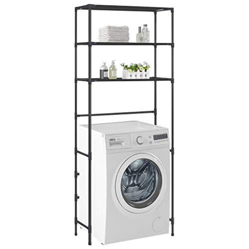 *Tidyard Waschmaschinenschrank Badschrank Hochschrank Badregal Überbau Schrank Schwarz, 69 x 28 x 169 cm*
