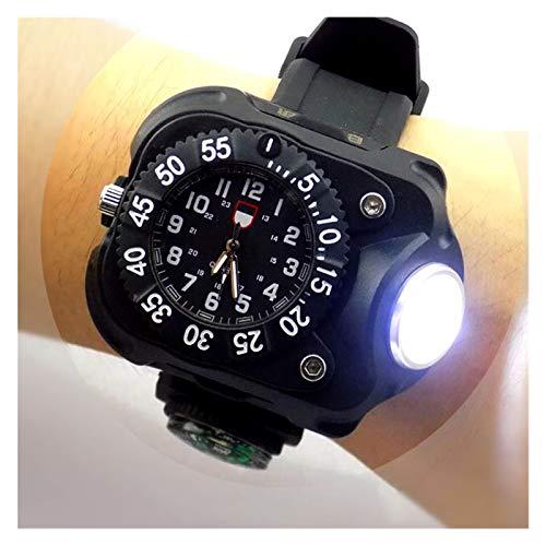 VIAIA 3 en 1 Montre Lumineuse Lumineuse Lumineuse Lumineuse avec Boussole Sport de Plein air Mode imperméable à LED de Montre de Poignet Rechargeable