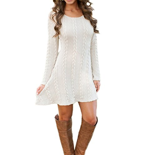 Mansy Womens Knitted Crewneck Sweater Dress White Medium