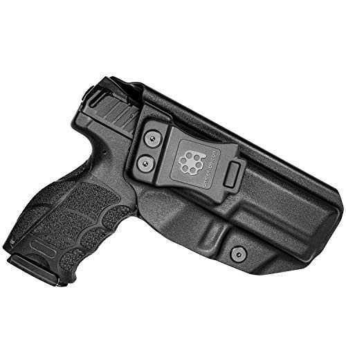 Amberide IWB KYDEX Holster Fit: Heckler & Koch (H&K) VP9 | Inside Waistband | Adjustable Cant | US KYDEX Made (Black, Right Hand Draw (IWB))