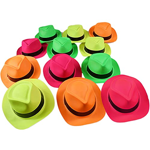 Pack of 12 Neon Plastic Fedora Party Hats