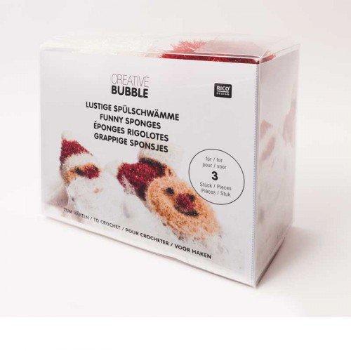 Nieuw 2017. Rico Design Creative Bubble X-Mas haakset - het innovatieve sponsgaren als set - Kerstman, laarzen en emoji