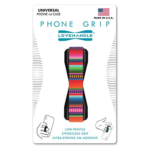 LOVEHANDLE Phone Grip for Most Smartphones and Mini Tablets, Serape Design Colored Elastic Finger Strap with Black Base, LH-01Serape