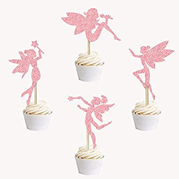 24PCS Pink Sparkling Fairy Cupcake Toppers Angel Cake Topper Ballet Cupcake Topper Shiny Cake Decoration Kids Girls Toddlers Birthday Party Baby Shower Decorative Supplies