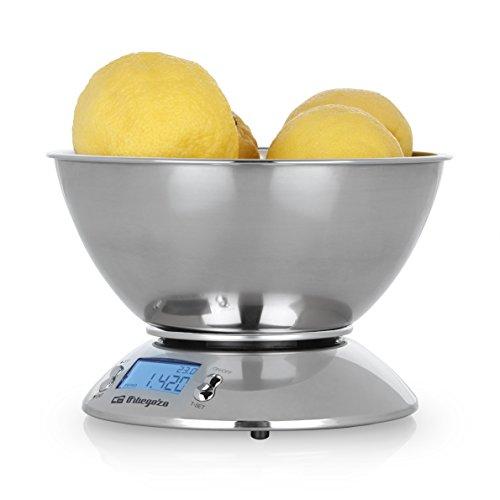 Orbegozo PC 2011 - Peso de cocina con bol y carcasa de acero inox, pantalla LCD, temporizador, termómetro ambiental, capacidad máx 5kg