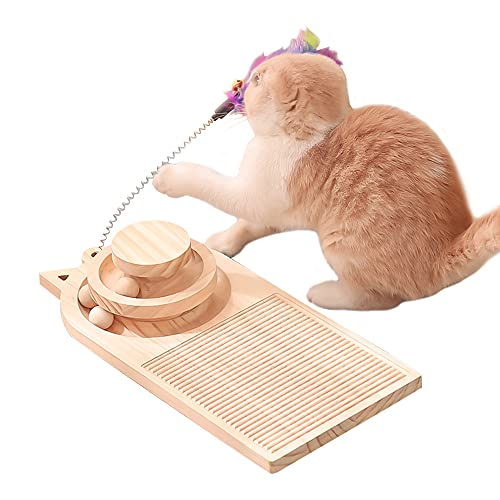 Interactive Wooden Cat Toy Two-Layer Turntable Scratching Board with Track Balls & Feather Stick, Cats Intelligence Game Multi-Functional Scratcher for Indoor Kitty's Hunting, Chasing & Exercising
