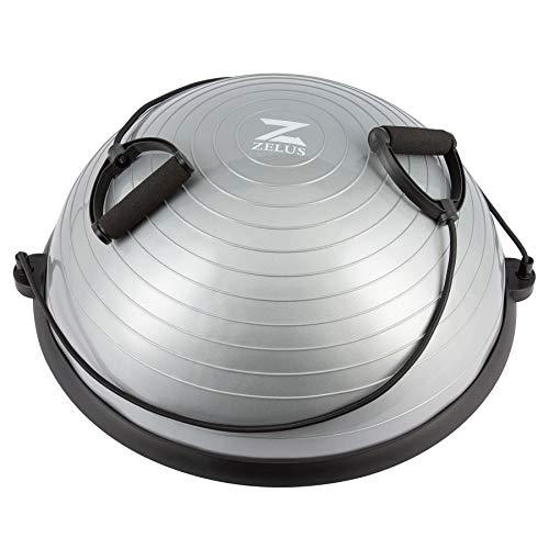 Z ZELUS Palla Equilibrio 58CM Mezza Sfera Cupola Balance Board con Fasce di Resistenza e Pompa a Pedale per Yoga Fitness Allenamento (Grigio 58CM)