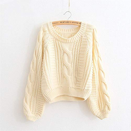 DNBUIFHSD Damen Winterkleidung Pink Pull Pullover Solid Chic Kurzer Pullover Twisted Pull Femme Kawaii Pullover ropa-Beige