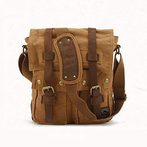 Dirgee Man Lady Multiusos Vintage Vintage Mensajero Hombro Satchel Crossbody Bolsa de Asas portátil DSLR Portátil Maletín Handbag (Color: Ejército Verde) (Color : Brown)