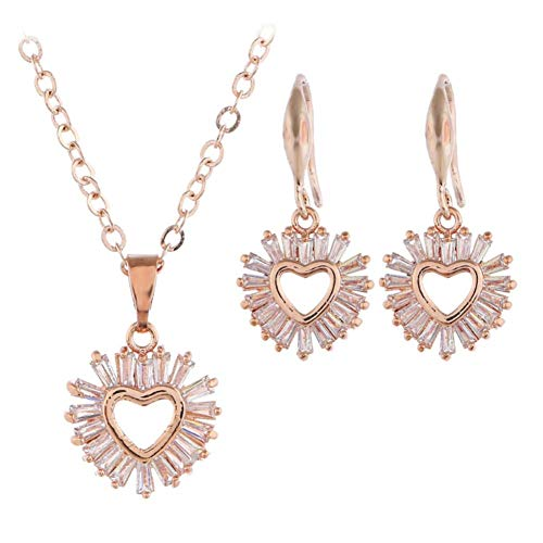 MSYOU Alloy Lady Earring Simple Heart Shaped Mini Crystal Pendant Earrings Necklace Jewelry Accessories for Women