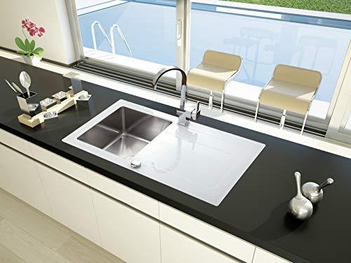 Respekta Glasspüle Spüle Spülbecken Einbauspüle Glas New York 86x50 weiss inkl. Excentergarnitur