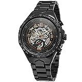 Relojes de Correa de Acero Inoxidable Negro para Hombre Relojes mecánicos automáticos Esqueleto Reloj de Pulsera clásica de Acero de tungsteno electroplateado,C02