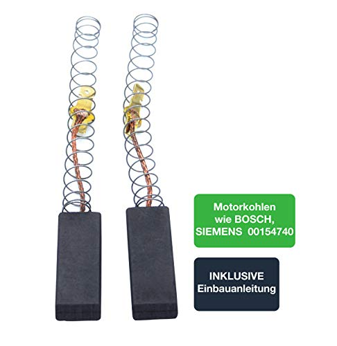 MK05 Motorkohlen/Kohlebürsten/Kohlestifte für Waschmaschinen von BOSCH, SIEMENS, CONSTRUCTA - 2er Set - passend wie 00154740/154740 / 4812362484