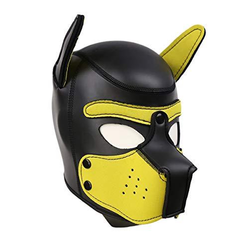 Máscara Cachorro Disfraz de Fiesta Halloween Juego de Roles Sexy Cosplay Máscaras de Perro en Látex de Goma Cabeza Completa Transpirable con Orejas (Amarillo, M)