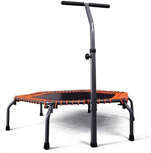 FEE-ZC Outdoor Indoor-Trampoline 50-Zoll-Orange, Silent Mini mit verstellbarem Handlauf, Rebounder für Erwachsene und Kinder, Perfect Urban Cardio Workout-Heimtrainer, Max. Zuladung 500 lb