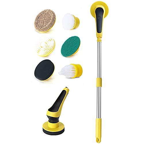 LTLWSH Depurador de Suelo eléctrico con 6 Cabezales de Cepillo de Limpieza reemplazables, Cepillo de fregado de Ducha Giratorio para Suelo, baño, Cepillo de Limpieza para Suelo de Cocina