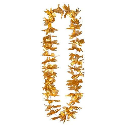 Boland 52288 - Hawaiikette Kahoku gold, 1 Stück, Einheitsgröße, Halskette, glänzende Blüten, Sommer, Strand, Blüten, Blumen, Meer, Urlaub, Accessoire, Verkleidung, Kostüm, Karneval, Mottoparty