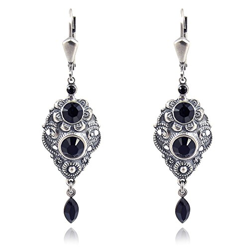 Jugendstil Ohrringe Schwarz mit Kristallen von Swarovski® Silber Jet NOBEL SCHMUCK