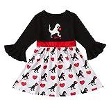 TWISFER Baby Dinosaurier Print Prinzessin Party Kleid Outfits für Mädchen Trompetenhülse Prinzessin Schmetterling Kleidung Mädchen Kommunionkleid Festlich Geburtstag
