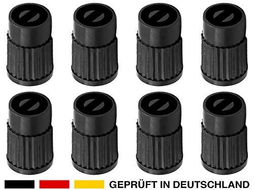 8x Autoventil-Schlüssel Kappen Kunststoff in schwarz Werkzeug Ventil-Ausdreher Reifenventil-Entferner Ventil-Eindreher Ventil-Schrauber, Tool für Auto-Ventile Fahrrad Schrader-Ventil Motorrad PKW KFZ
