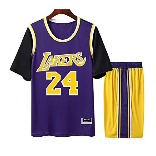 Bryant Lakers #24 Herren Damen Atmungsaktiv Basketball Trikot Rundhals Fake Zweiteiler Kurzarm Jersey T-Shirt 2er Set (S-4XL) XXXX-Large Schwarz