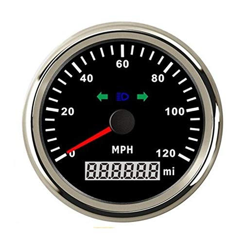 Great Price! Car Instruments GPS Speedometer Marine/Auto 120 MPH 3-3/8/86mm Red LED Light Bezel/316...