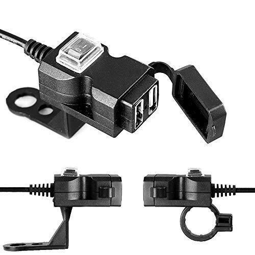 JenNiFer Wasserdicht 12V 5V 3.1A Dual USB Charger Motorcycle Ladeadapter Mit On/Off Switch Handbar Mirror Installation