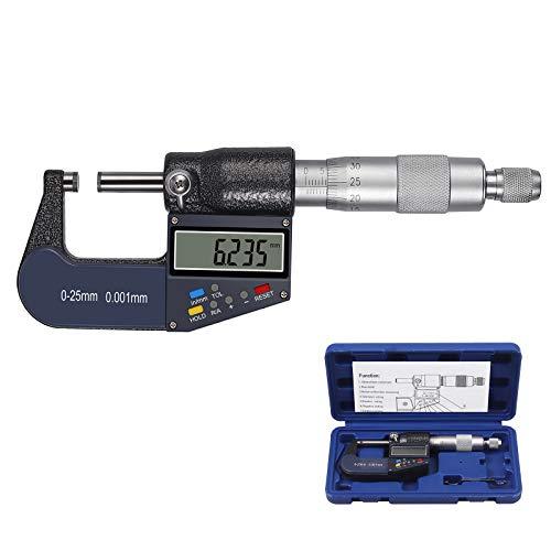 Proster 0-25mm Micrómetro Digital Multifunción Resolución 0.001mm Calibrador de Micrómetro Electrónico LCD Calibre Digital Espesor Exterior Pulgadas/Métricas con Apagado Automatico