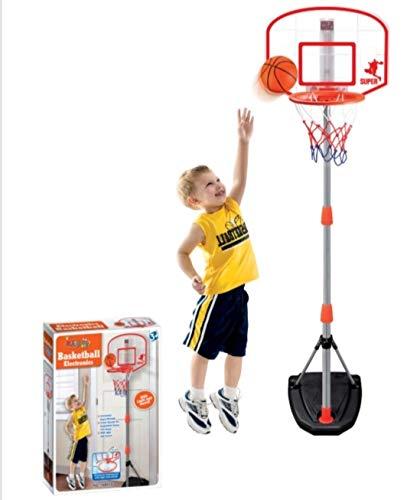 ODG Canasta de baloncesto con pie y tabla ajustable y marcador electrónico y pelota