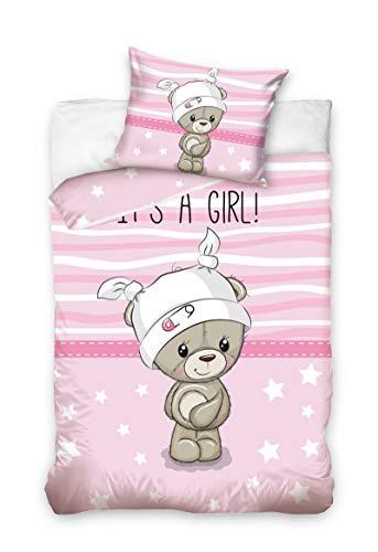 Babybettwäsche Kinderbettwäsche 90 x 120 cm + 40 x 60 Bettbezug Baby (191003 Rosa)