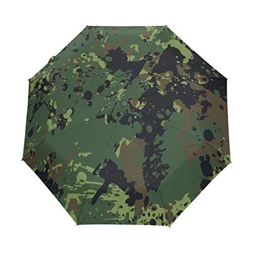 Militärische Ökostrom Regenschirm Auf-Zu Automatik Taschenschirm Winddichter Umbrella Klein Leicht Schirm Kompakt Schirme für Jungen Mädchen Reise Strand Frauen