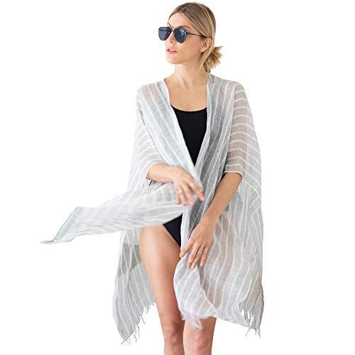 Mer Sea Luxury Linen Wrap 100% Linen, Grey Stripe