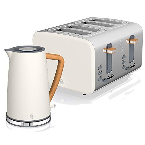 Swan Nordic Set Desayuno Hervidor de agua inalámbrico 1,7L 2200W, Tostadora Pan ranura ancha 4 rebanadas, 3 funciones, diseño moderno, efecto madera, blanco