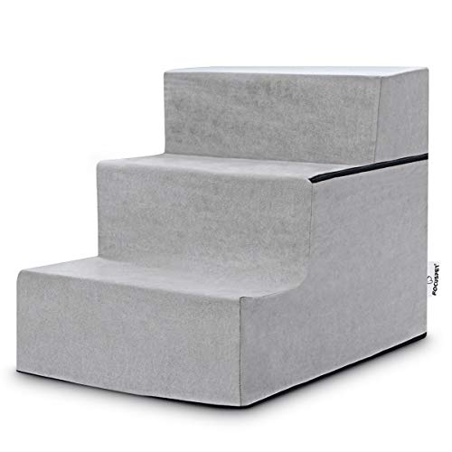 FOCUSPET Dog Stairs for High Beds, Pet Dog Steps for Small Dogs Non-Slip High Density Foam 3 Tier Pet Ladder Stairs for Bed & Couch with Washable...