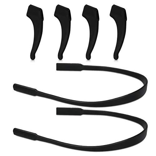 kwmobile Set de 4 soportes antideslizante para gafas incl. 2 bandas elásticas - Soportes de silicona y 2 correas en negro